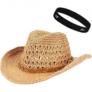ITODA Parent-Child Trilby Straw Hat Breathable Cowboy Hat Summer Sun Protection Hat Beach Cap Vintage Style Folding Panama Hat Wide Brim Visor Hat Fisherman Hat for Mens Womens Boys Girls