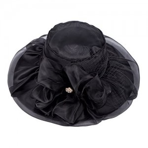 Lawliet Womens Organza Wide Brim Sun Hat Kentucky Derby Wedding Patry Feather Cocktail Hat Travel Outgoing