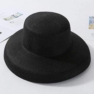 Sun Hats Summer Sun Hats Ladies Solid Plain Elegant Wide Brim Hat Female Round Top Panama Floppy Straw Beach Hat Women