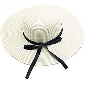 Women Foldable Summer Sun Hats Ladies Floppy Straw Hat Beach Hat Wide Brimmed White
