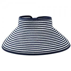 Womens Empty Top Wide Brim Sun Hat Packable UV Protection Beach Cap for Fishing & Hiking Women Sun Visors Hat Wide Brim Foldable Roll up Beach Straw Sun Hat