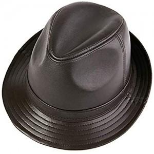 G&F Men Sheepskin Leather Jazz Hat Winter Warm Classic Vintage Fedora Hat Trilby Pork Pie Caps 55-60cm (Color : Dark Brown Size : 57-58)