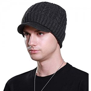 L-entcy Men's Winter New Thick Warm Wool Hat and Velvet Shorts Simple Fashion Earmuffs Faux Wool Lining Cuffs With a Comfy Cap Top Neutral Cuffed Common Taro Knit Cap/Baseball Cap