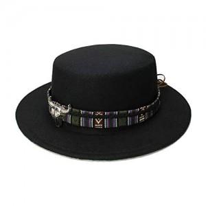M.J.ZUR Men's Vintage Wool Wide Brim Cap Pork Pie Porkpie Bowler Hat Cow Head Leather Band (57cm/Adjusted)