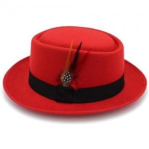 M.J.ZUR Wide Brim Round Top Cap Fedora Porkpie Pork Pie Bowler Hat Leather Band
