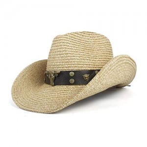 W.Z.H.H.H Cap Cowboy Hat for Men Straw Panama Hat Belt Cow Decorate Wide Brimmed Hats for Summer Khaki Male Hat Straw Hat