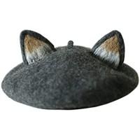 Girls Retro Beret Cap 3D Cat Pointed Ears Faux Felt Painter Hat Women Hat