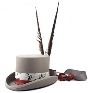 U/D Hats Women's Steampunk Top Hat Wool Grey Fedora Punk Long Feather LHZUS (Color : Gray Size : 61CM)